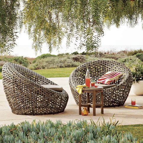 Outdoor Lounging In Grass Patio Nest Chair Rattan Outdoor Furniture Wicker