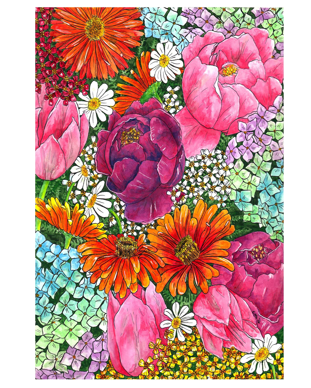 Get Well Soon!, Zinnia, yarrow, daisy, tulips, peonies