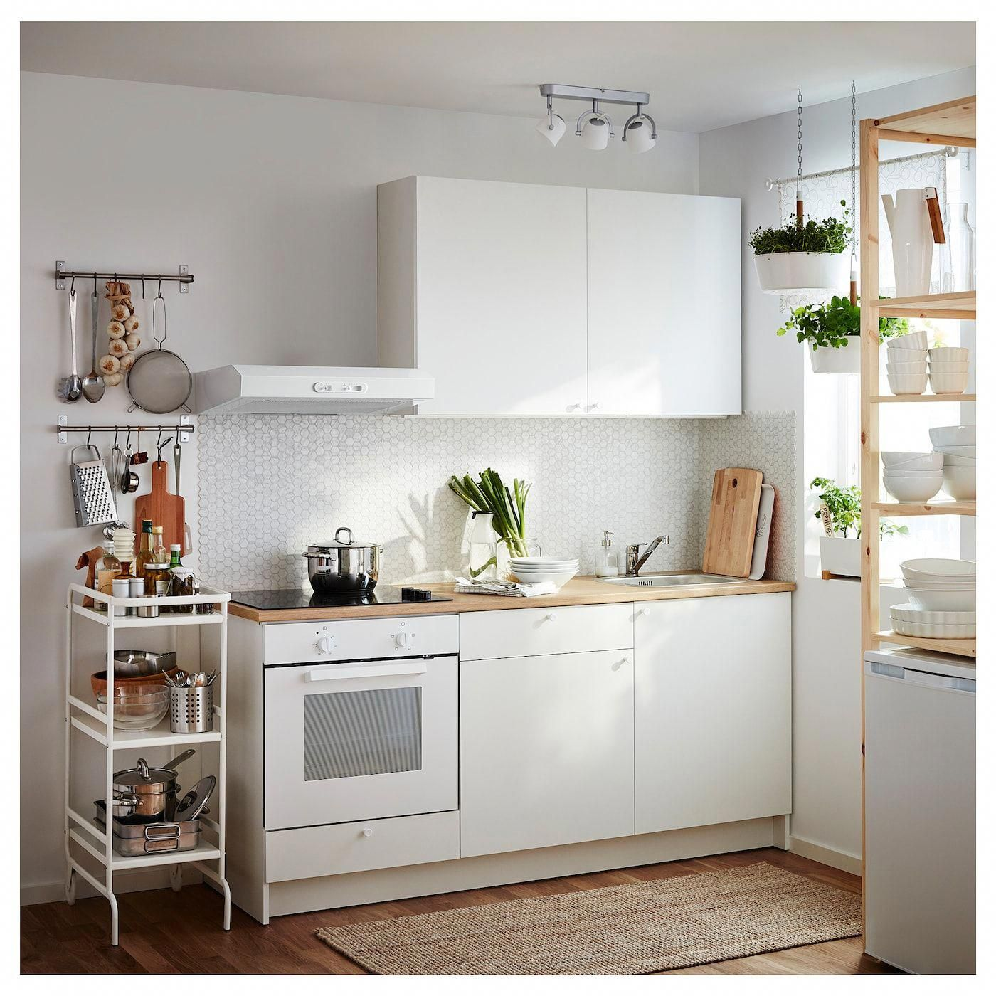Knoxhult Base Cabinet With Doors And Drawer White Countertop Length 72 3 8 Ikea Kitchen Trends Apartment Kitchen Minimalist Kitchen