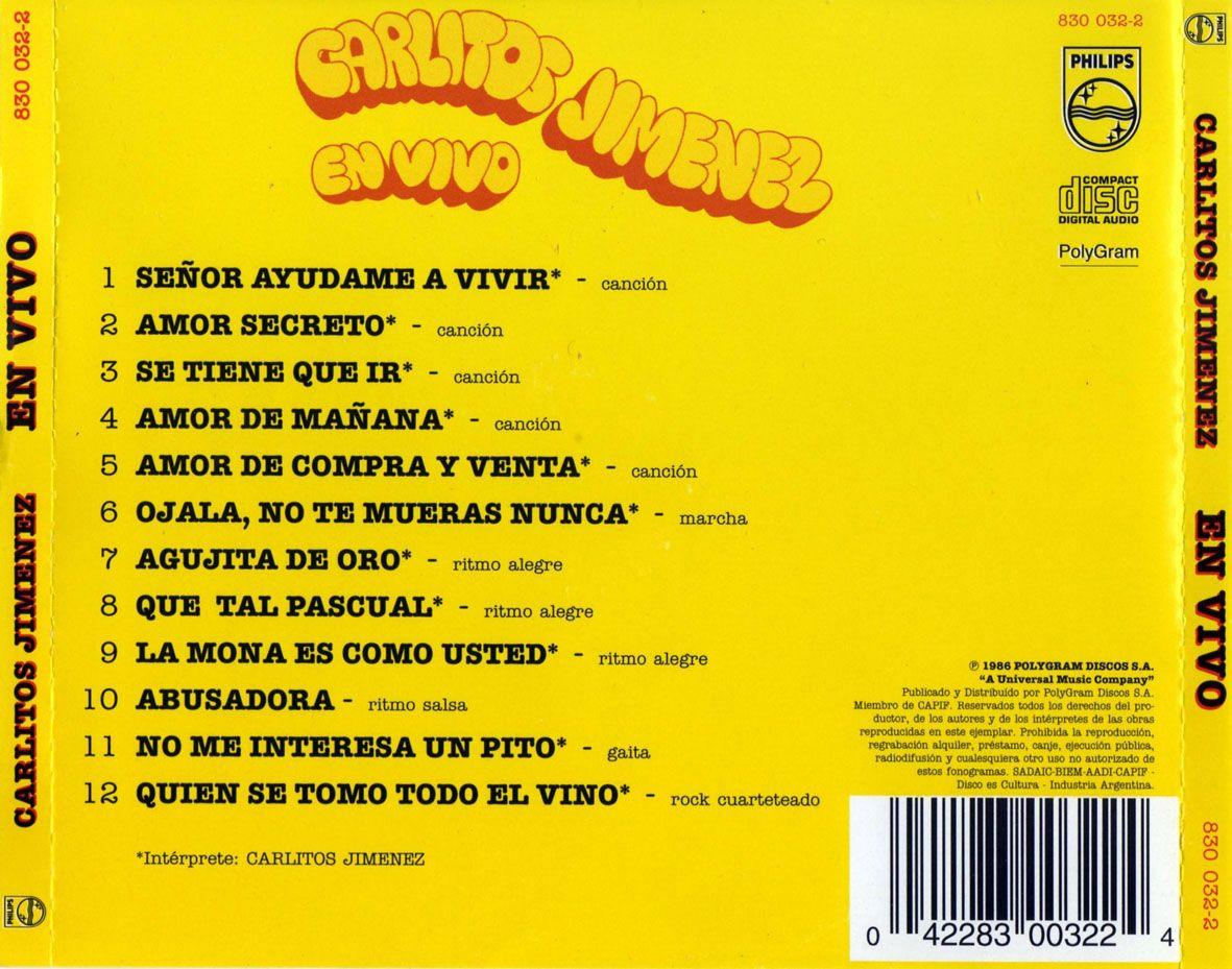 Caratula Trasera de La Mona Jimenez - En Vivo   Caratulas de musica,  Portadas, Caratula