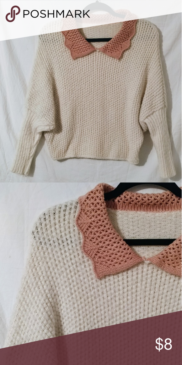 Kawaii collared sweater Very soft Dolman sleeves Good condition no flaws 😊  BUNDLE AND SAVE acbee6cd3