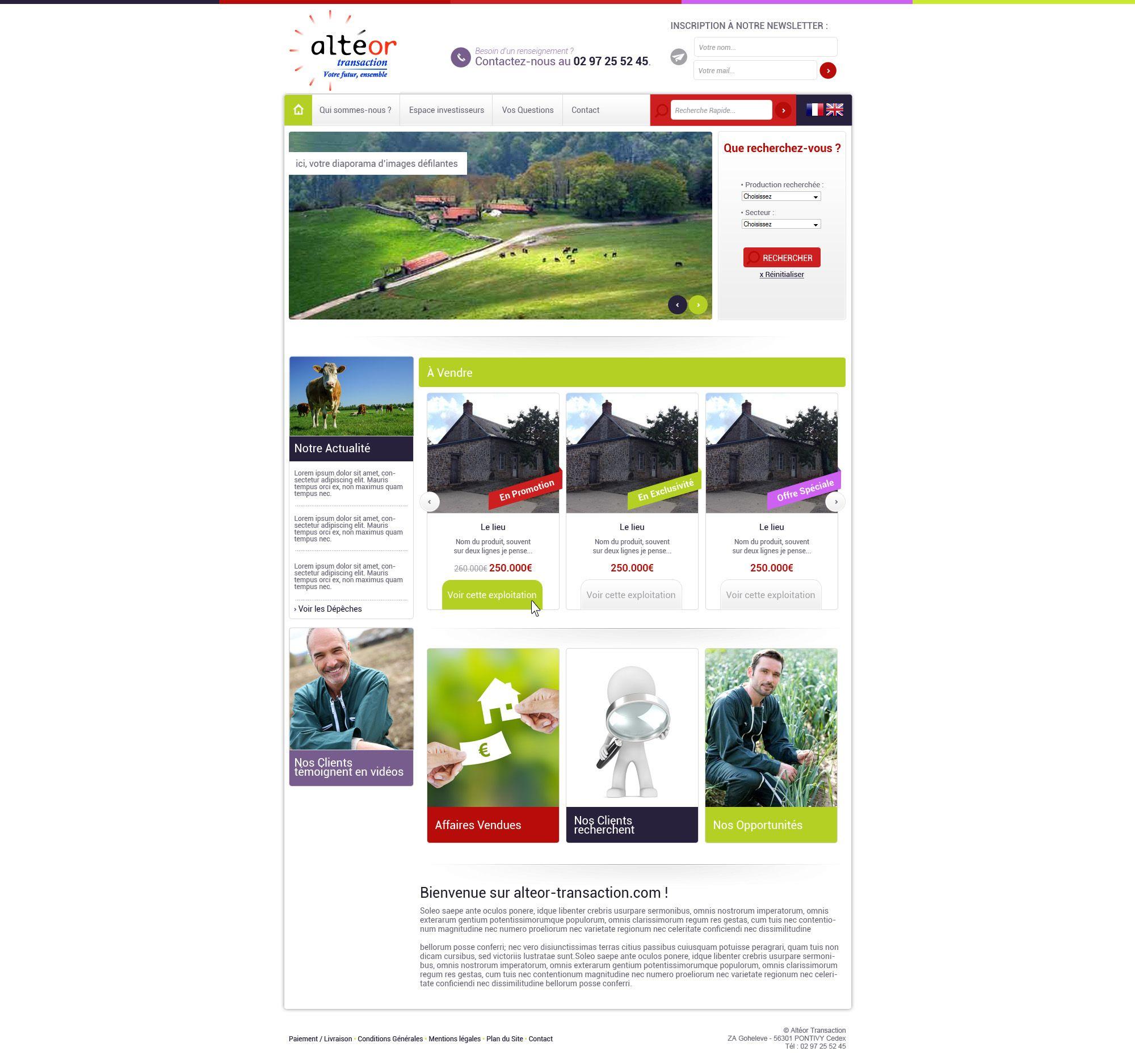 Maquette site alteor-transaction.com - creation de site marchand