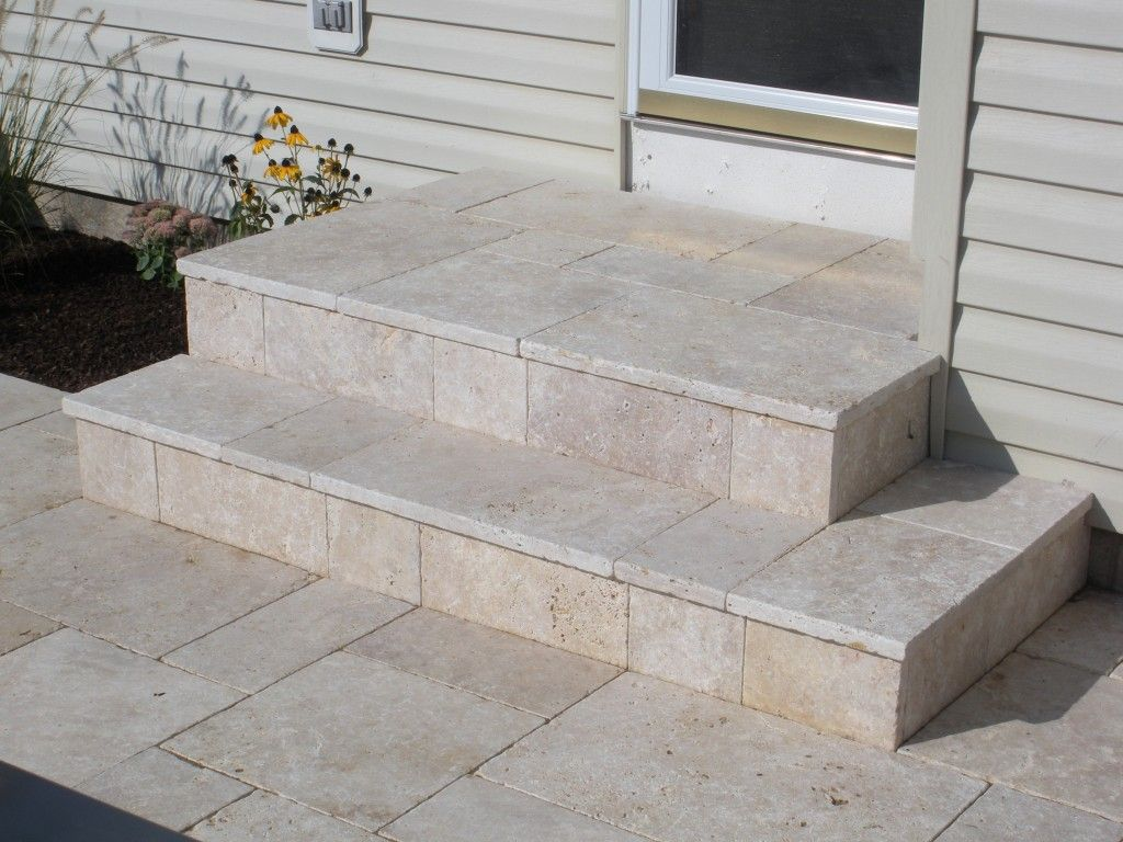 Travertine Patio And Steps Plsblue New Hope Pa Patio Tiles