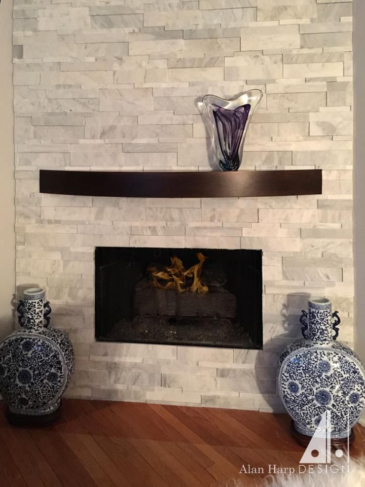 Cherry Mantel With Dark Java Stain Curved Mantel Shelves Can Be Made In Nearly Any Size And Stain Or Vene Custom Fireplace Mantels Fireplace Mantels Fireplace