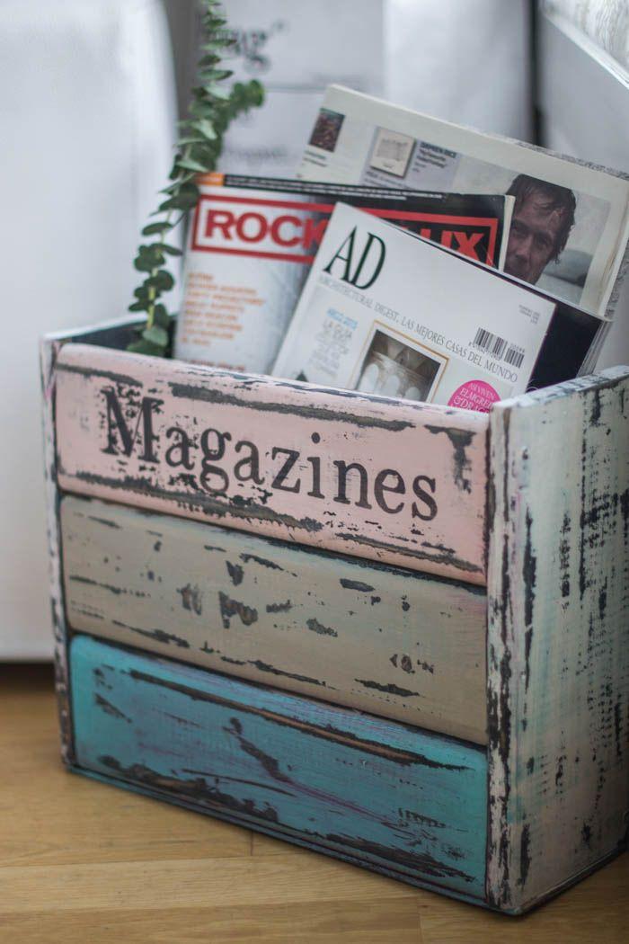 Muebles de madera diy un revistero de estilo vintage for Muebles reciclados para un estilo industrial