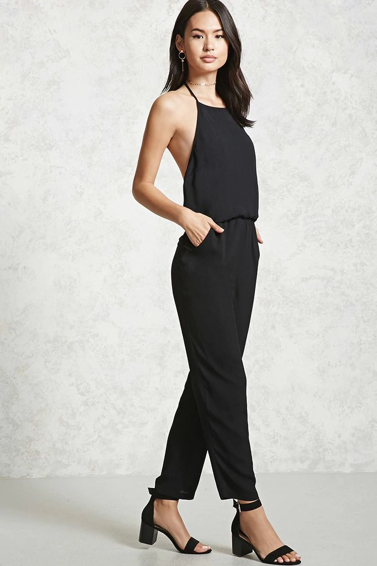 b36e969cfa2e Style Deals - This crepe woven jumpsuit features self-tying halter neck