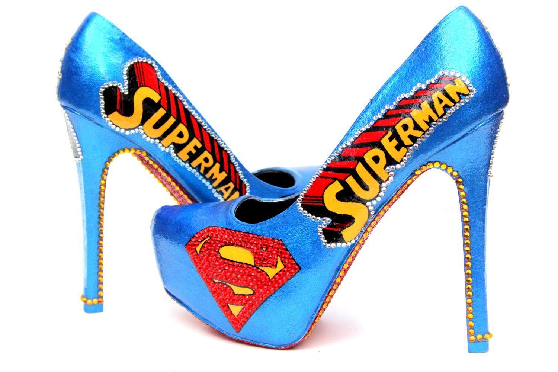 Superman Heels With Swarovski Crystals Blue Stilettos Heels