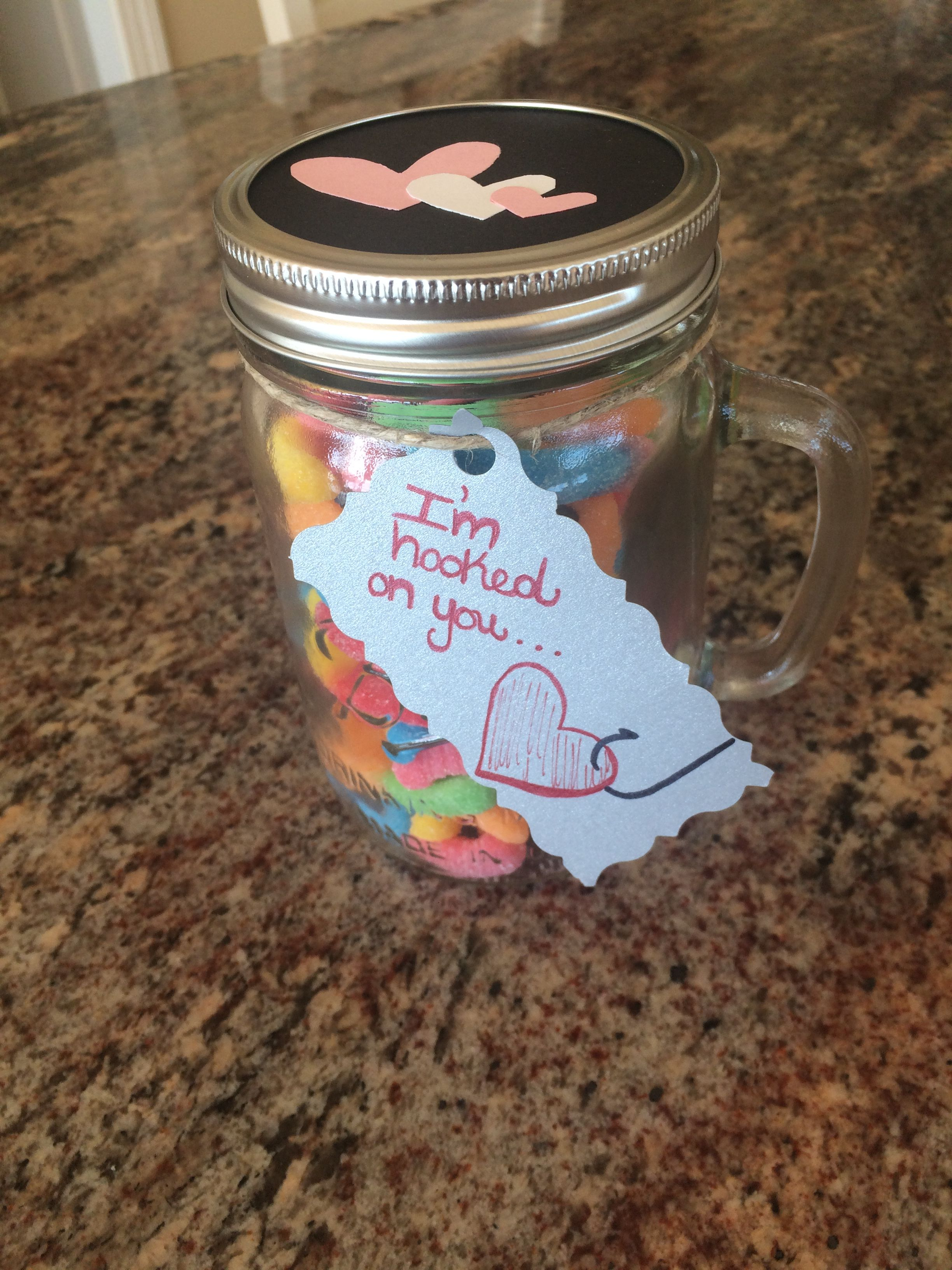 Homemade Valentine S Day Gift For My Boyfriend A Mason Jar That Contains Sour Gummy Worms Homemade Valentines Christmas Gifts For Boyfriend Boyfriend Homemade