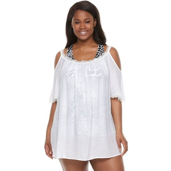 plus size beach scene cold-shoulder cover-up ($51) ❤ liked on