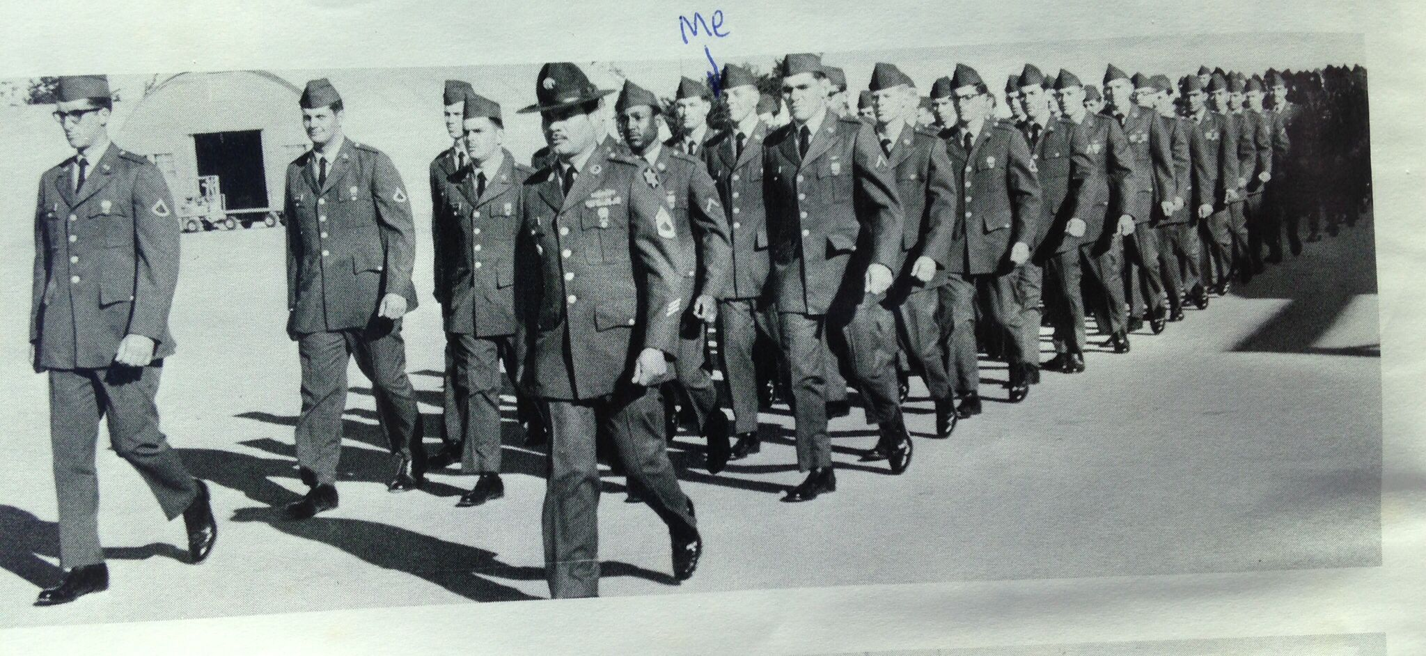 My platoon with Company A-1-1 heading out to the Parade Field, for Graduation ceremonies from Basic Training at Fort Ord, CA