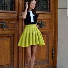 Yellow Perfect Pleats Mini A-skirt