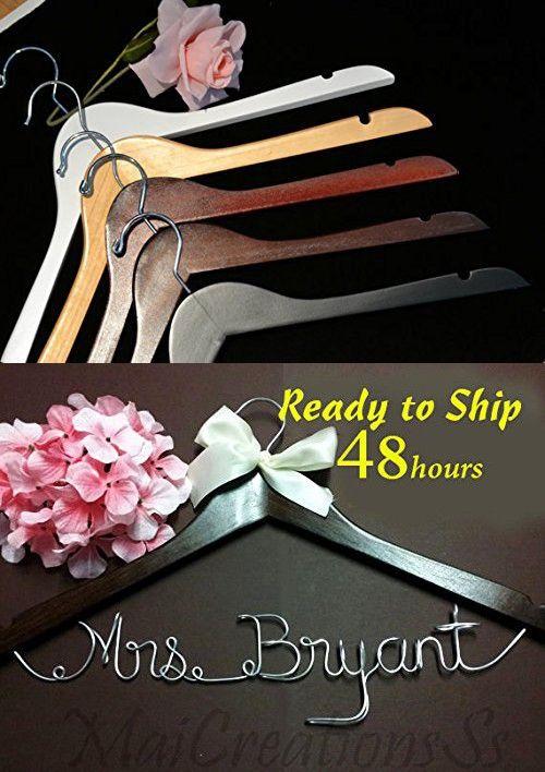Personalize Bridal Hanger, Name Hanger, Wedding Hanger, Custom Hanger, Mrs. Hanger, Name Wire Hanger, Bridal Party Hanger