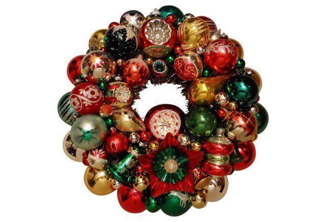 Green, Silver, & Red Ornament Wreath