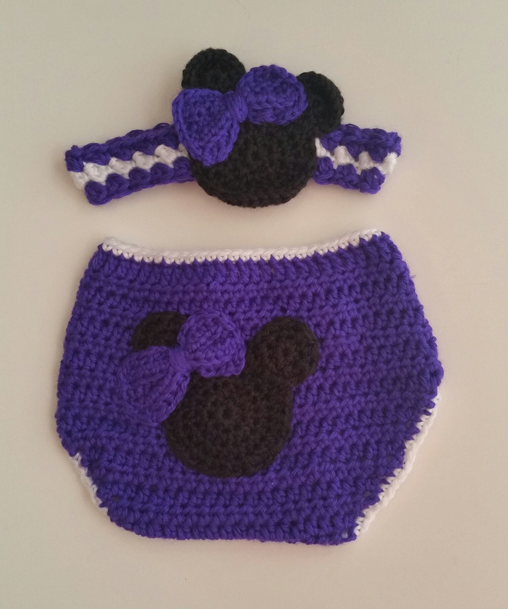 Gift Set Girl Mouse Diaper Cover & Headband Plum 6 Mos | Traje de ...