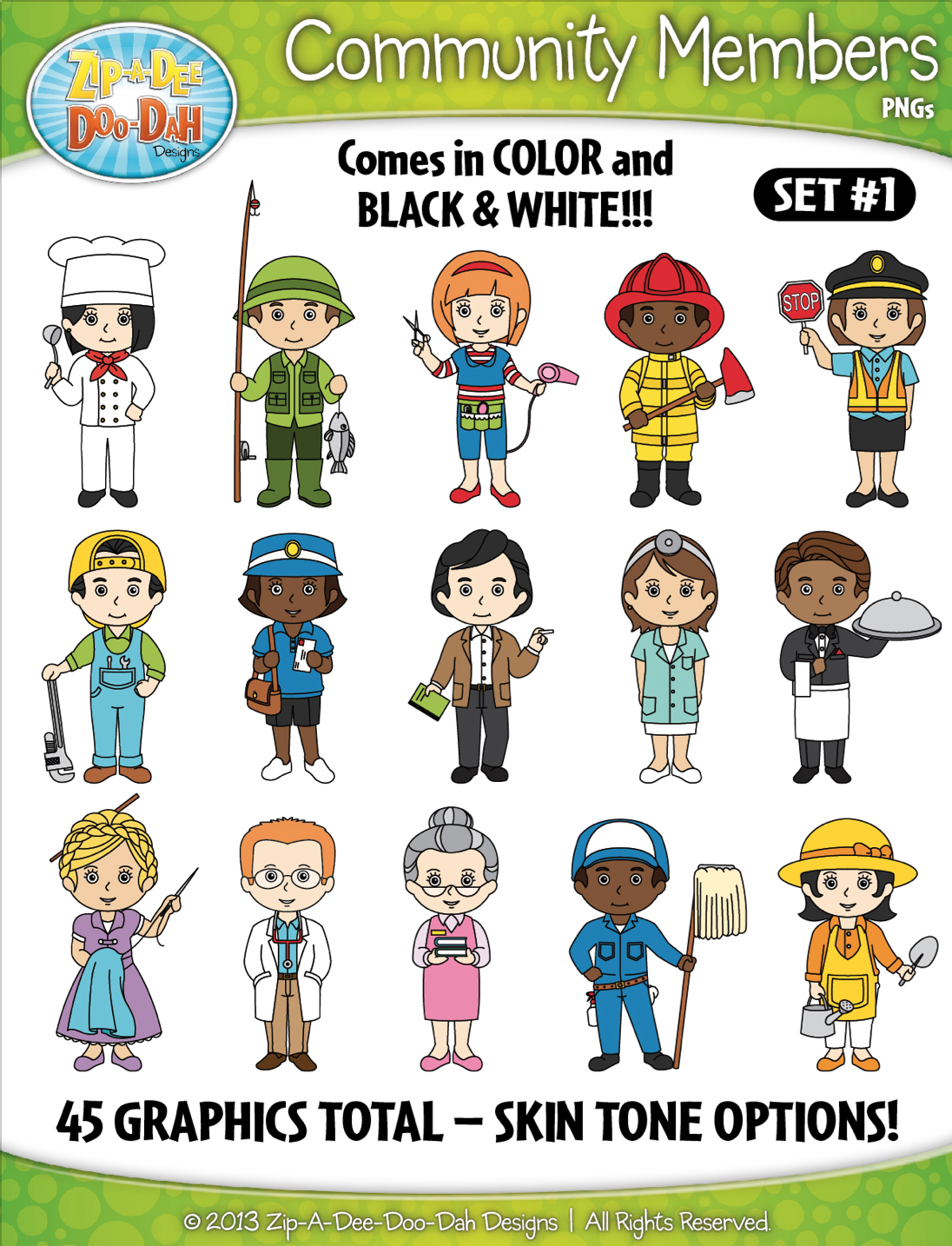 Community Members Helpers Character Clipart Set 1 Zip A