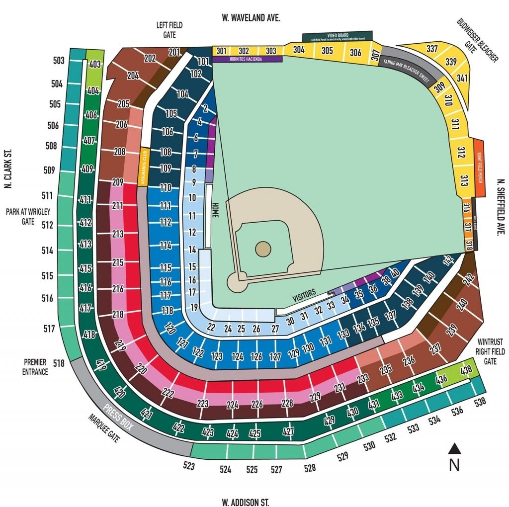 Wrigley Field Seating Chart With Seat Numbers Wrigley Field Seating Charts Wrigley Field Chicago