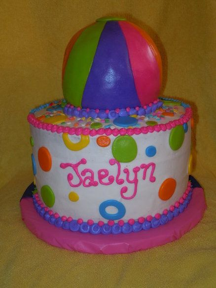 Beach Ball Cake Decorations Beach Ball Cake Except The Bottom Cake Blue With Goldfish On It