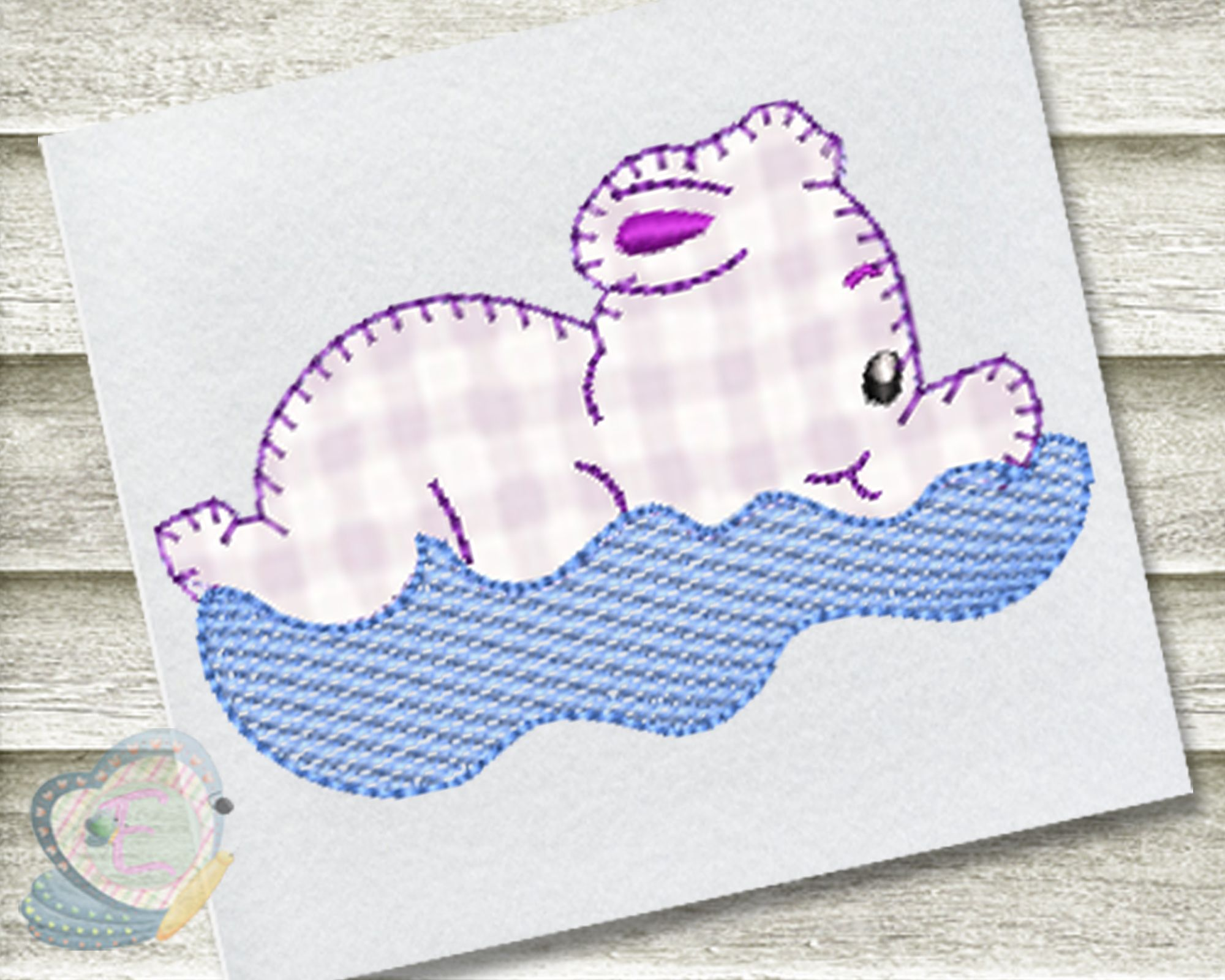 Baby Hippo Blanket Stitch Applique Machine Embroidery Design #babyhippo