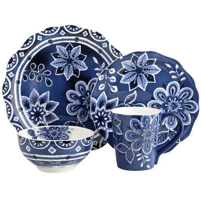 This exceptionally pretty blue and white dishwasher-safe and microwaveable durable  sc 1 st  Pinterest & This exceptionally pretty blue and white dishwasher-safe and ...