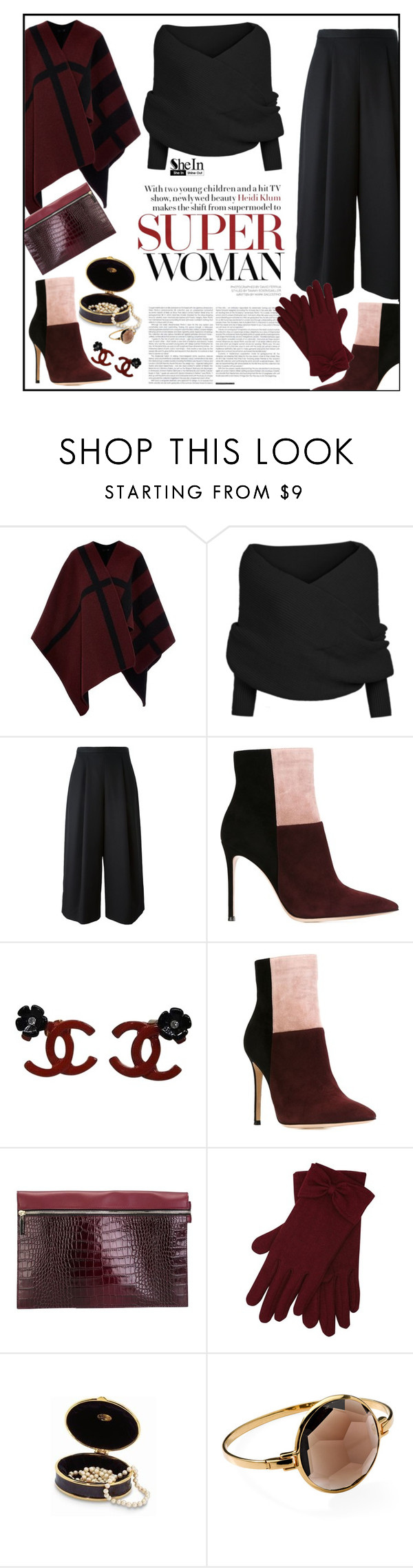 """Black Knit Sweater in SheIn!"" by ceci-alva on Polyvore featuring Mode, Burberry, Viktor & Rolf, Gianvito Rossi, Chanel, Victoria Beckham, M&Co und Ippolita"