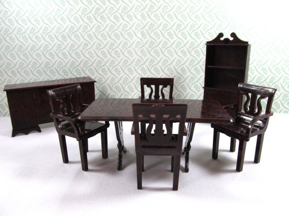 Dollhouse Dining Room Furniture 4 Lyre Chairs With Matching Table