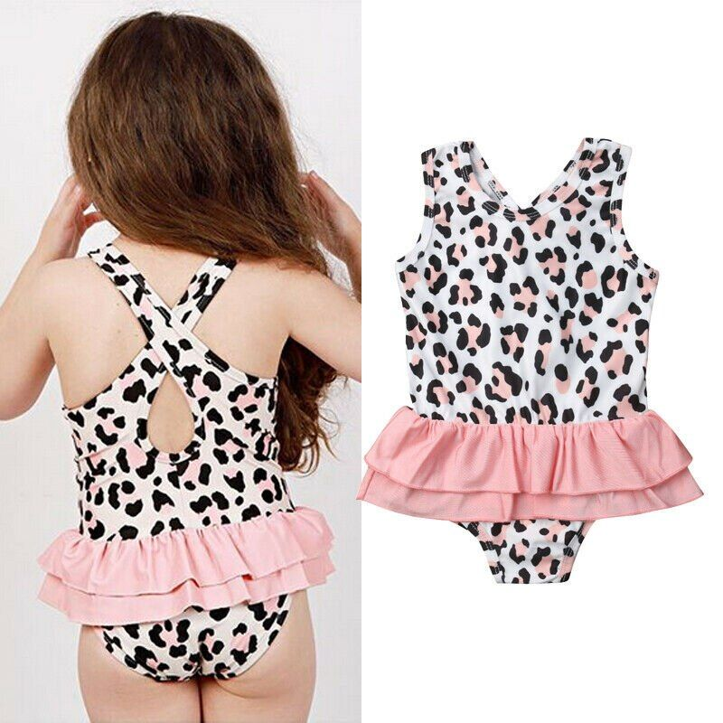 Baby Girl Button Striped Cute Swimsuit Bathing Bikini Set Beachwear Swimwear
