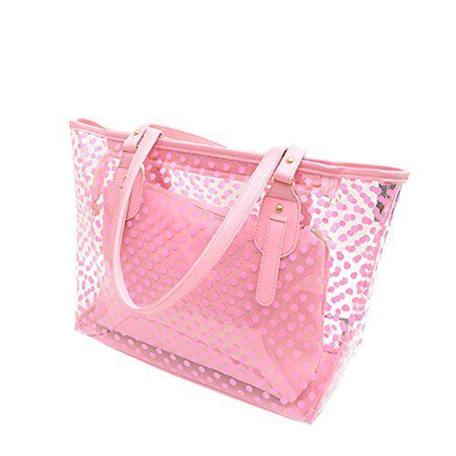 Clear Zippered Tote Bag Dots Patterned Women Transparent Beach Handbag with Inside  Purse Bag (Pink) 3c54a701d2
