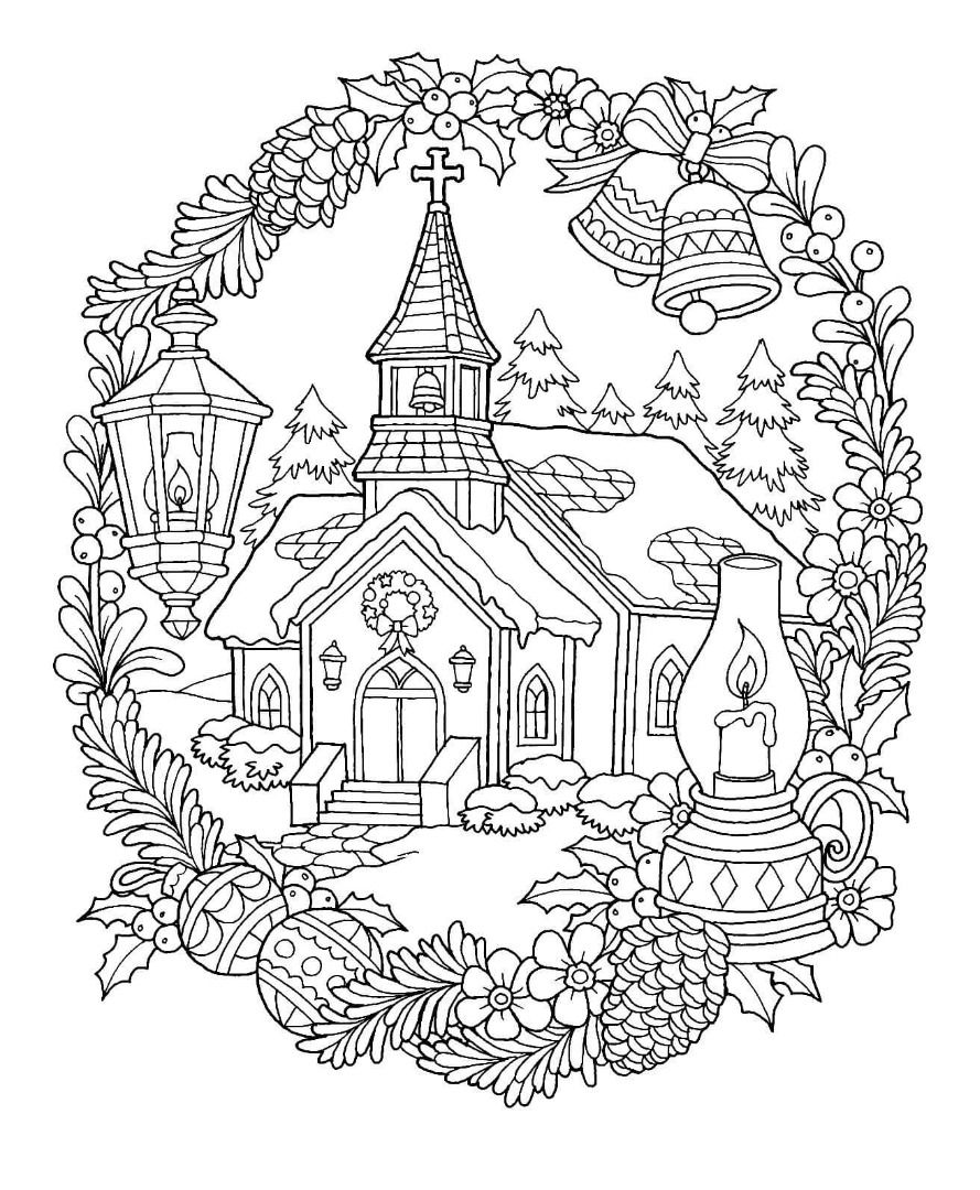 Christmas Church Coloring Page Christmas Coloring Pages Free