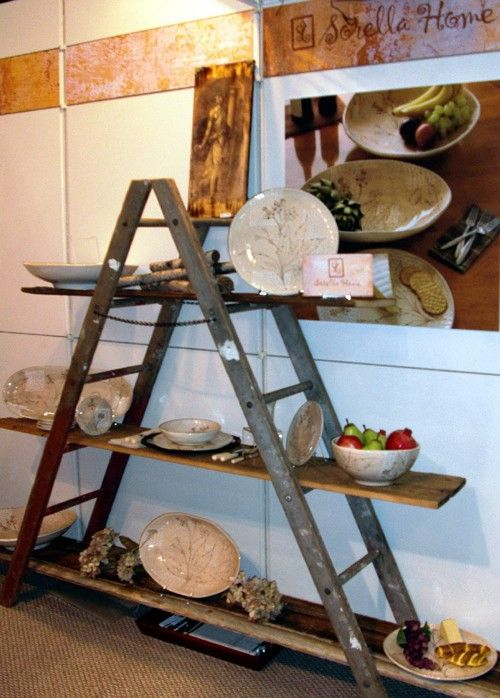 How To Use An Old Ladder As A Display 20 Ideas Shelterness Old Ladder Wooden Ladder Ladder Shelf Decor
