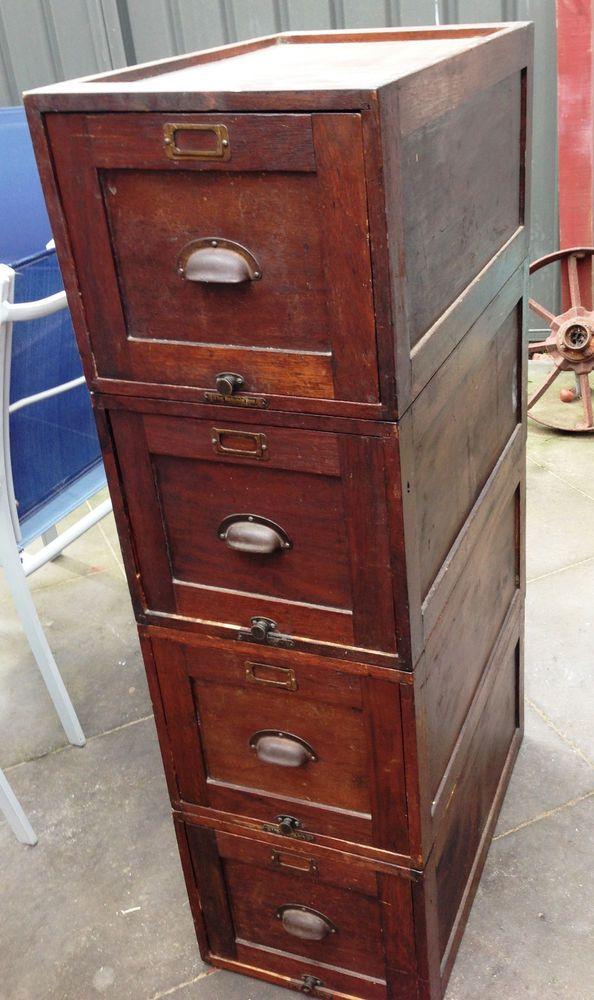 hot sale online 1e24b d76ae Vintage / Antique Industrial Timber Filing Cabinet | Vintage ...