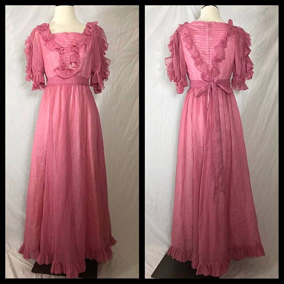 Handmade 1970s Occasion Dress made from Vogue Designer Original Pattern in Dusty Rose Voile - Size Small Medium #dressesfromthesouthernbelleera