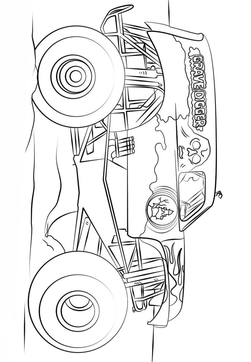 Monster Truck Grave Digger Coloring Page - Free Coloring Pages
