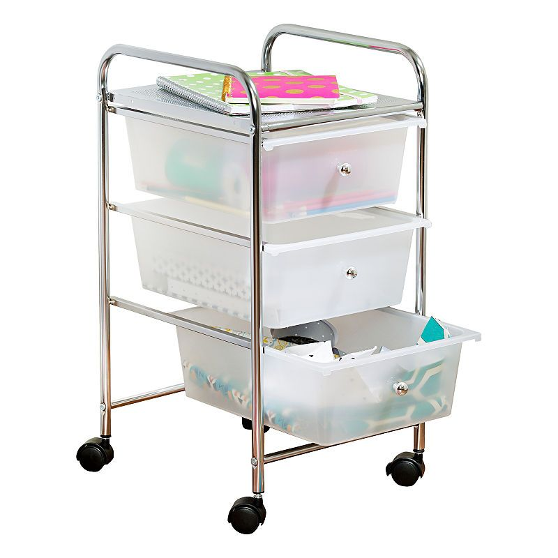 Honey Can Do 3 Drawer Plastic Storage Cart On Wheels Rolling