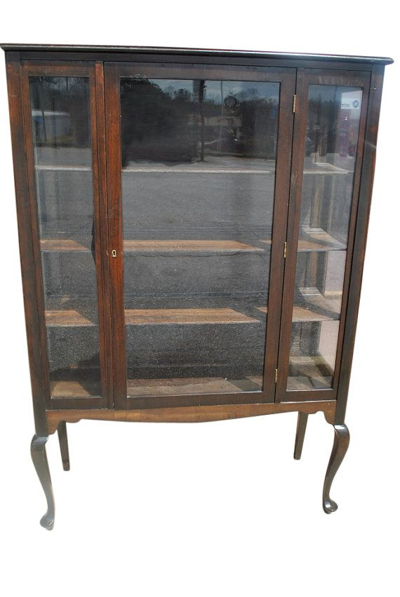 Good Antique Mahogany Queen Anne Style Display China Cabinet Ca 1920