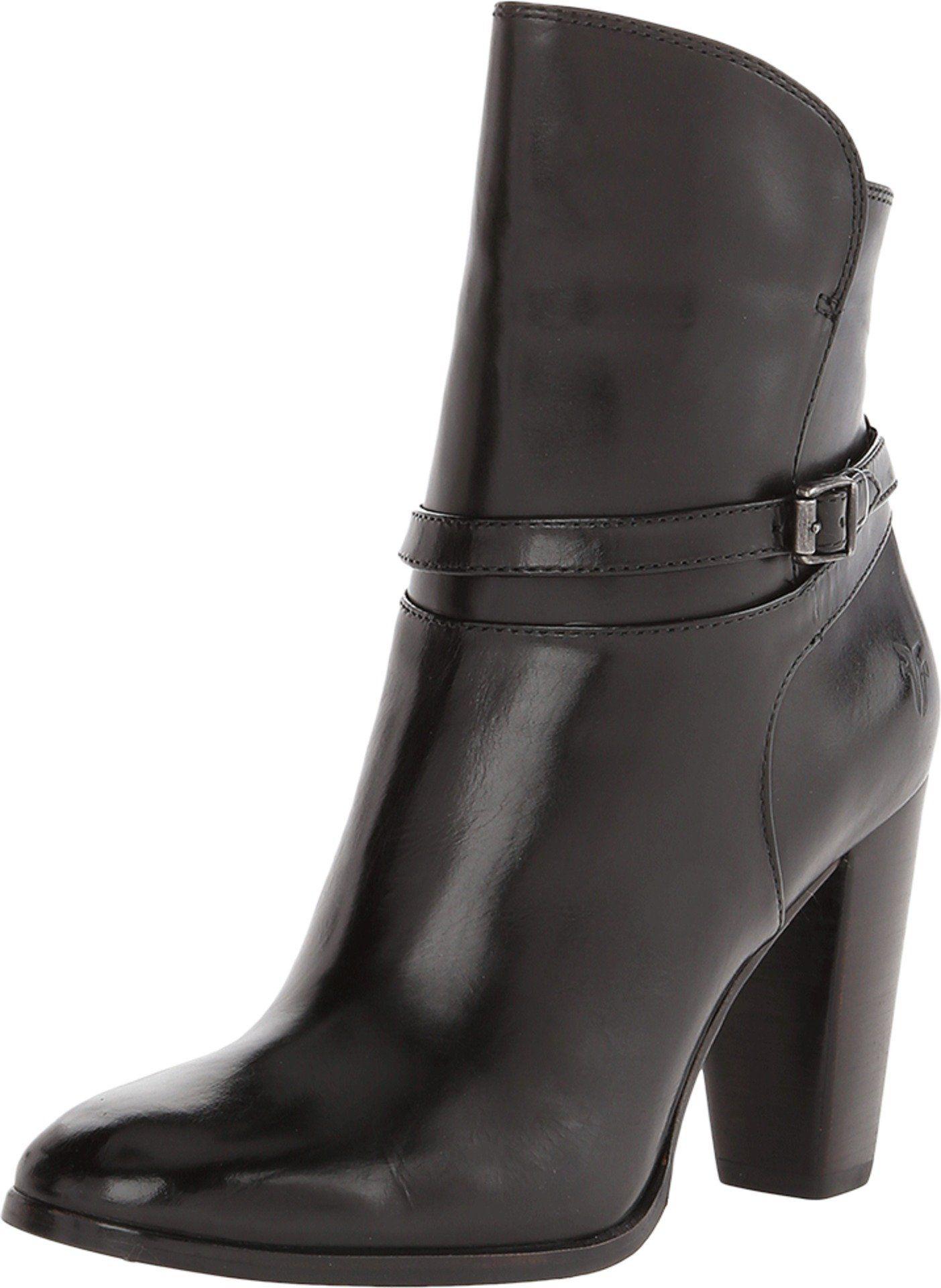 Frye Womens Laurie Zip Short Boot Black Size 6.5. Leather upper. Zip closure. Approx 3.5 inch heel.