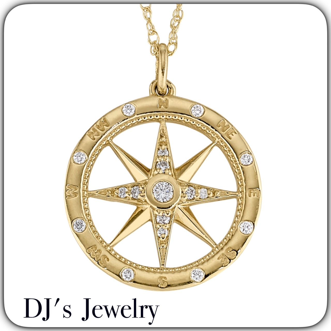 14K Yellow Gold Polished Nautical Compass With Accents Pendant