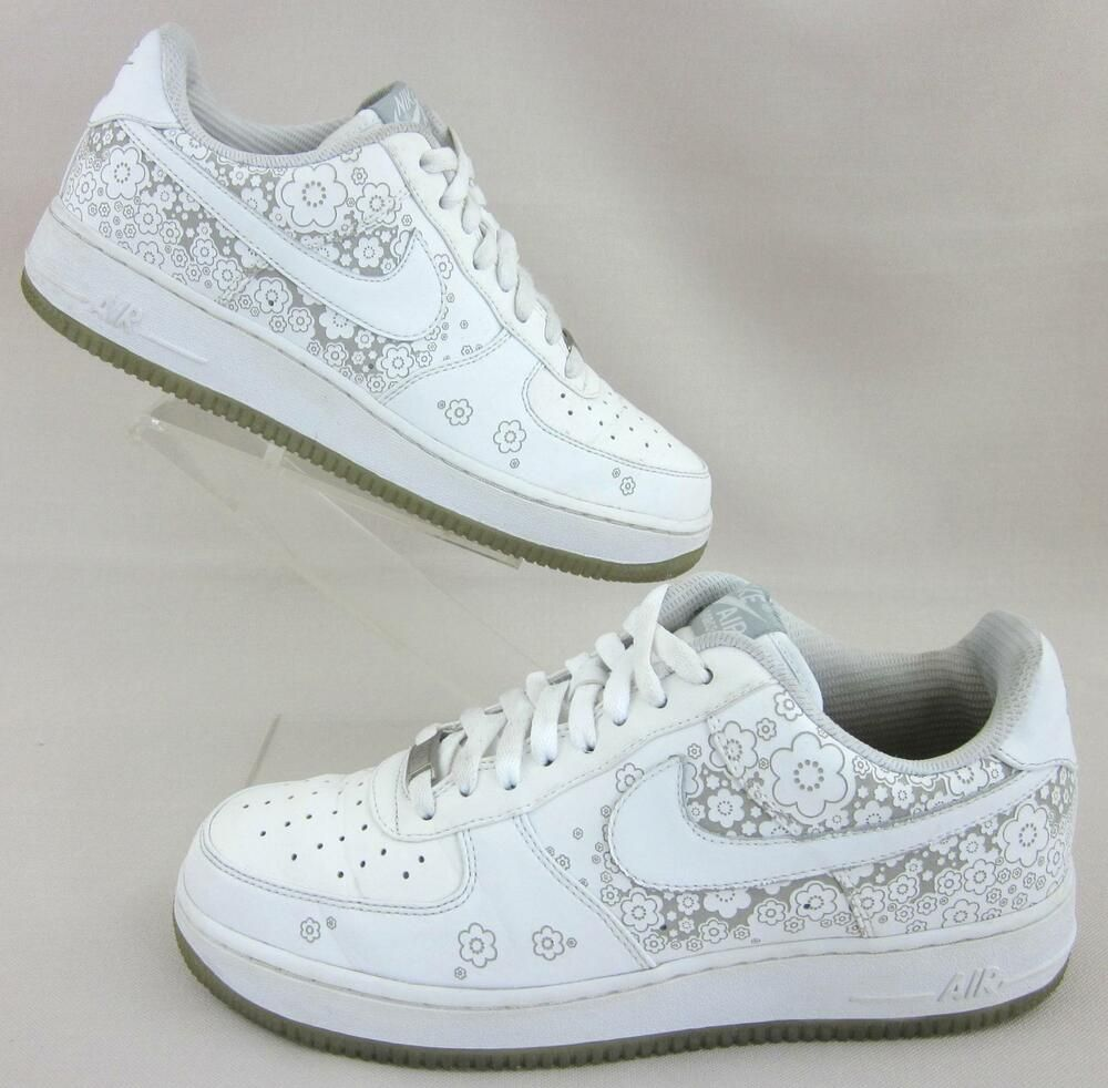 34eb4b6a01986 Nike Air Force 1 07 Sakura Shoes White Silver Cherry Blossom 9.5 ...