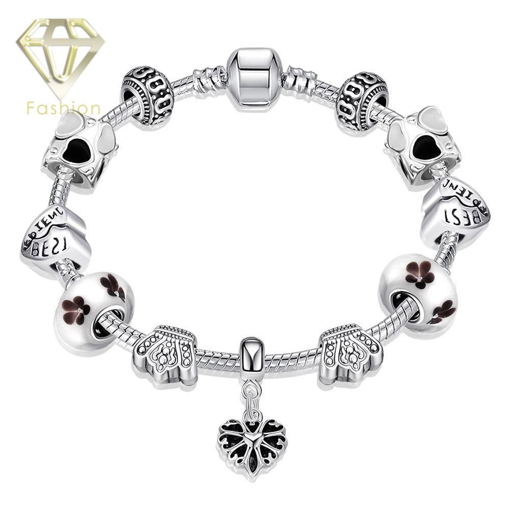 Paracord bracelets handmade silver plated charm bangle bracelet with