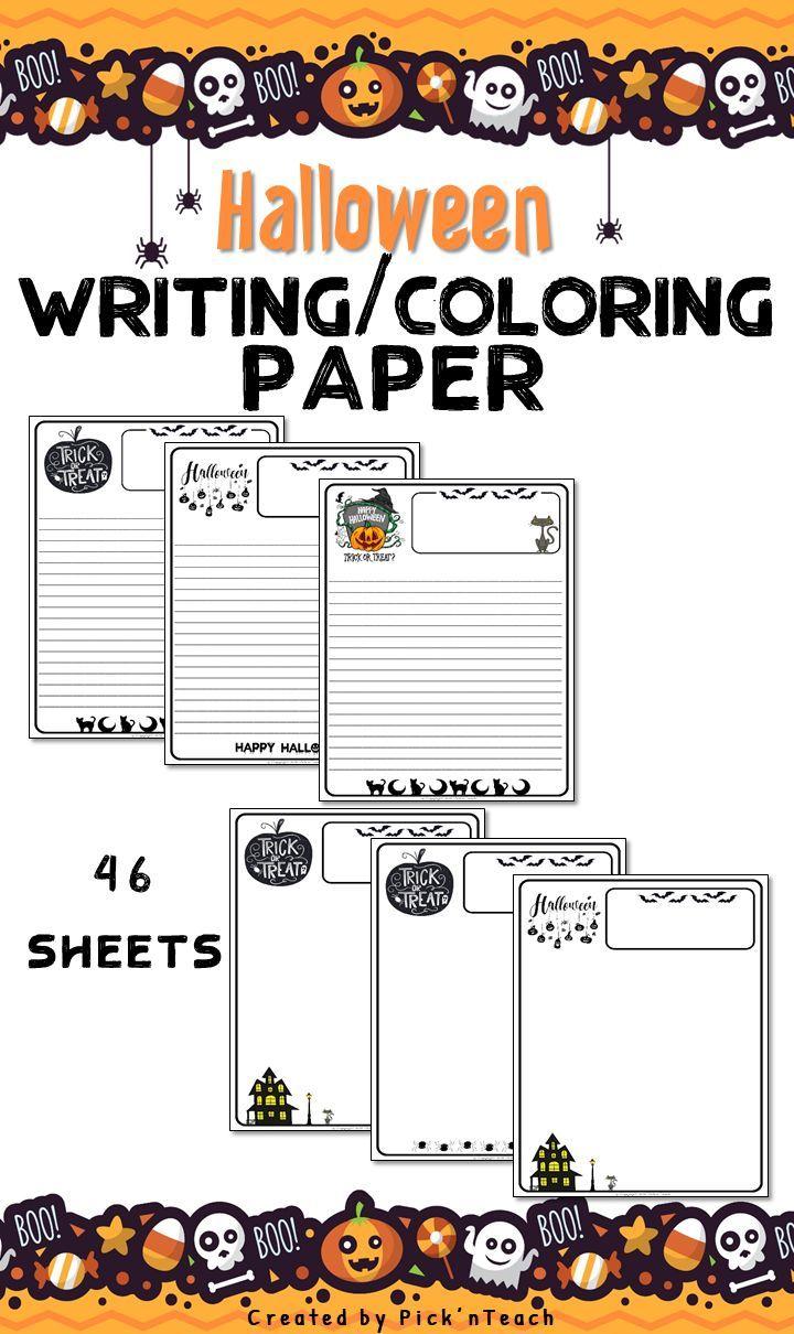 Halloween Writing & drawing PAPER 46 sheets Writing