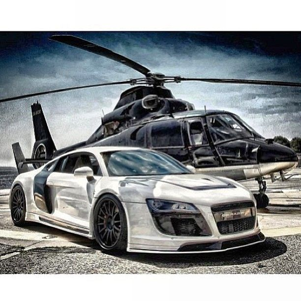 Badass Audi R8 Razor with helicopter