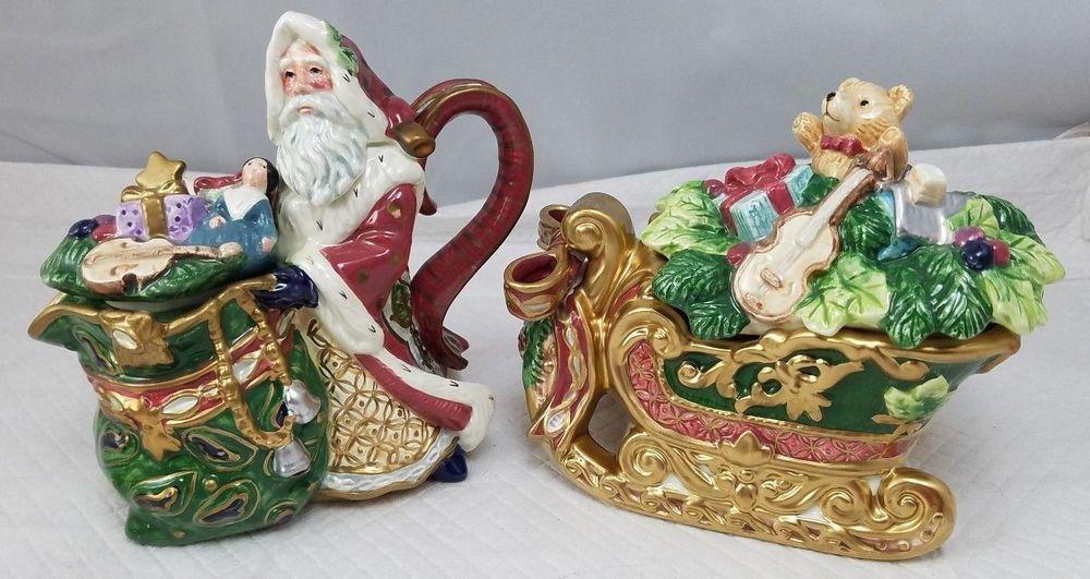 Fitz and Floyd Florentine Christmas SANTA/TREE Creamer Sleigh ...