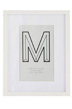 "House Doctor Bild ""The M"", weiß, 20x25cm"