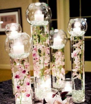 10 piece set orchids submerged cylinder glass vase with fish bowl rh pinterest com