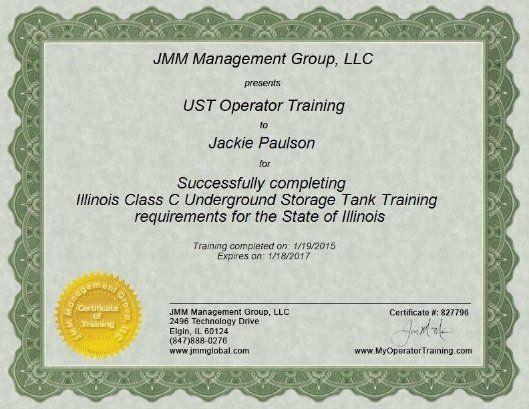 Jackie Paulson Has Ust Operator Training Il Class C