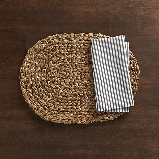 Montego Oval Placemat Crate And Barrel Neutral Napkin Crate
