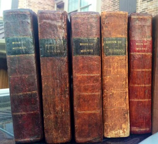 The First Edition Book Of Mormon Was Bound With A Variety Of Labels Here You Will See Five First Editions Four With Black Lab Rare Books Books Book Of Mormon