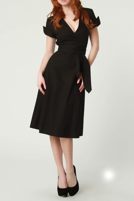 Cotton faux wrap dress in black fashion love dresses u skirts