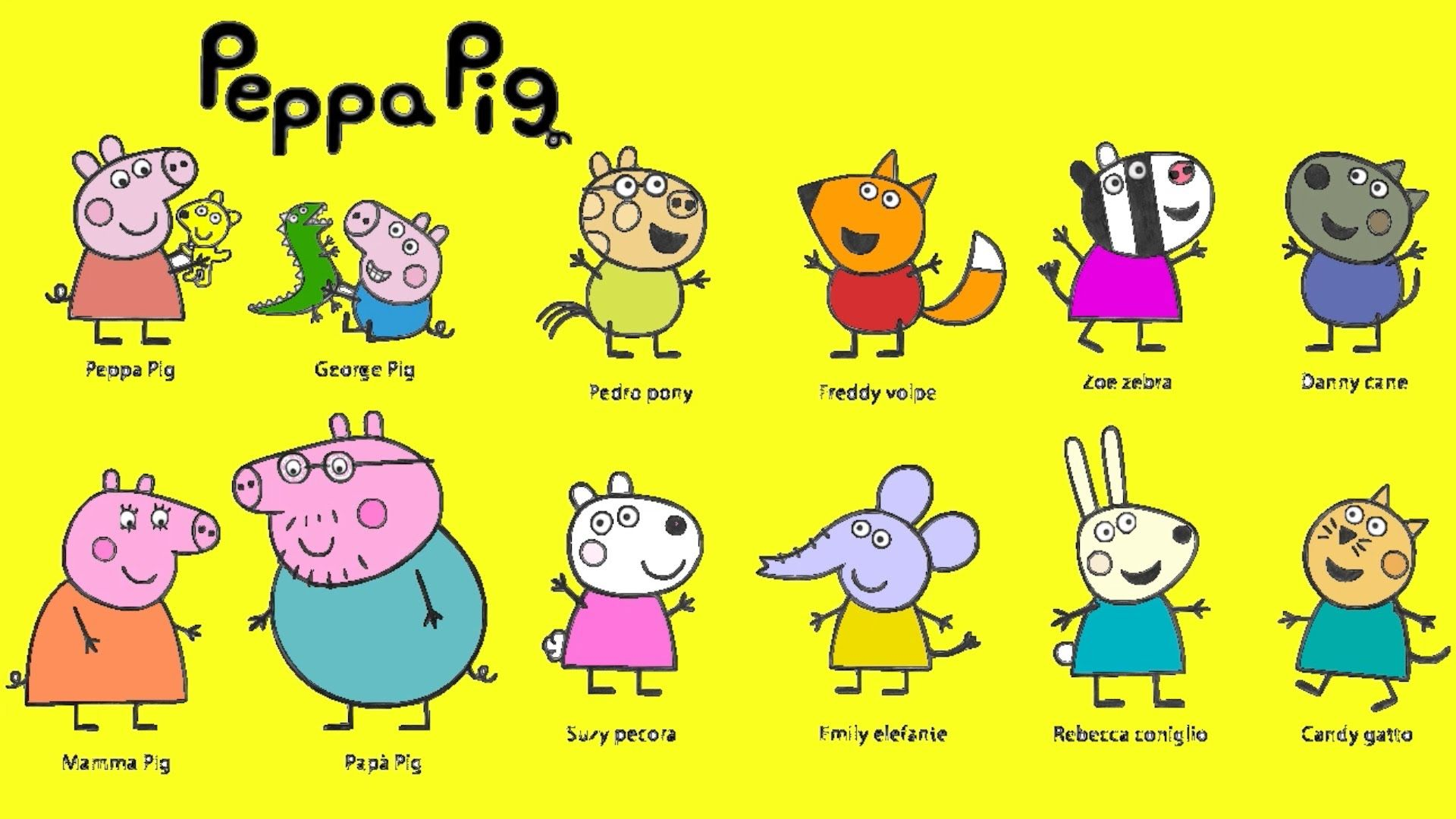 Peppa Pig and Friends Colouring Page For Kids Learn Colours With ...
