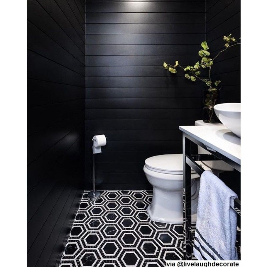 Shop 12 X 12 Nova Black Hole Hexagons Polished Marble Tile In Nero Asian Statuary At Tilebar Com Black Powder Room Black Tile Bathrooms White Bathroom Tiles