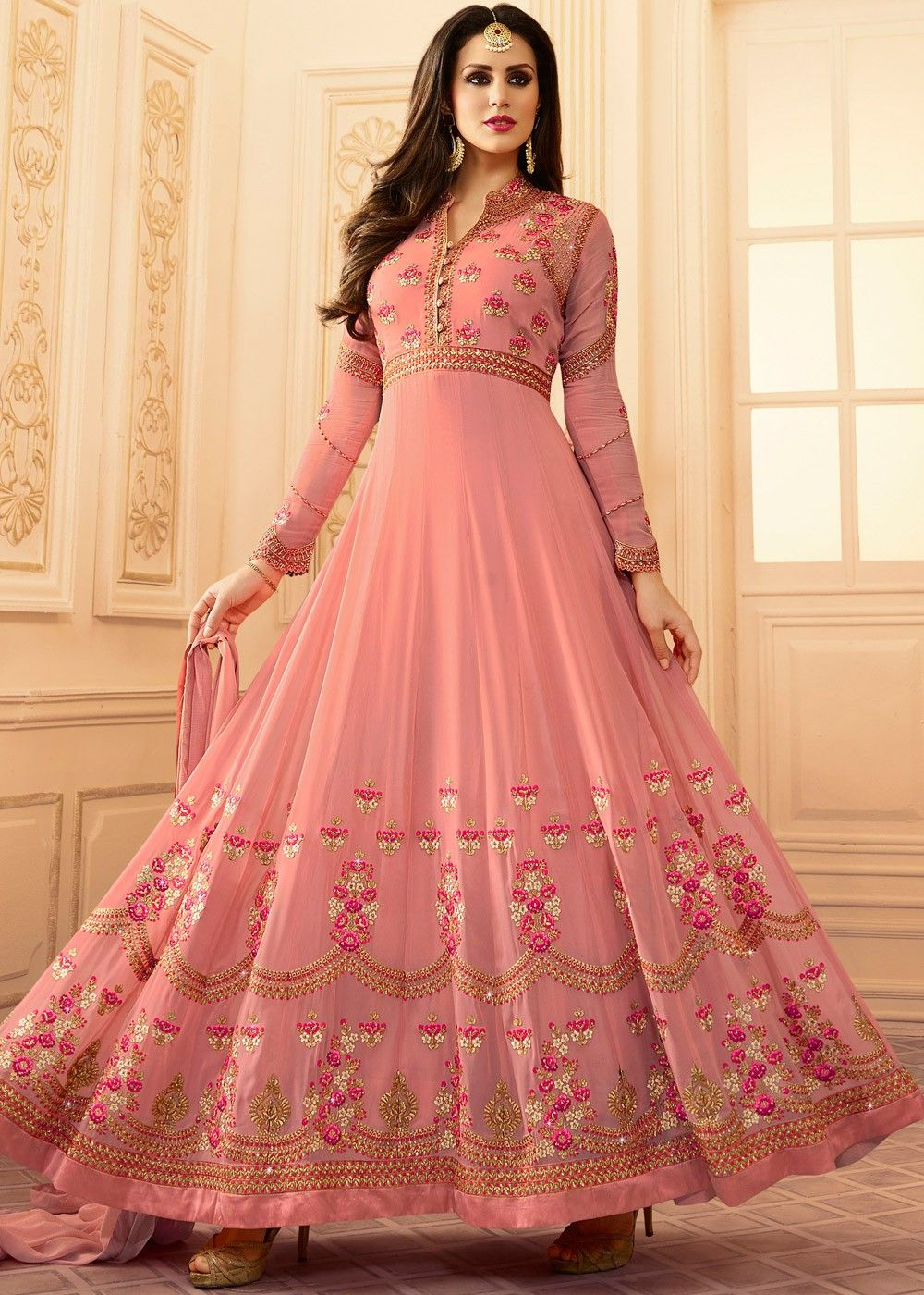 da01712d60 Light #pink full length #abaya style #kameez in #georgette embellished with  detailed #resham #embroidery and stone work.